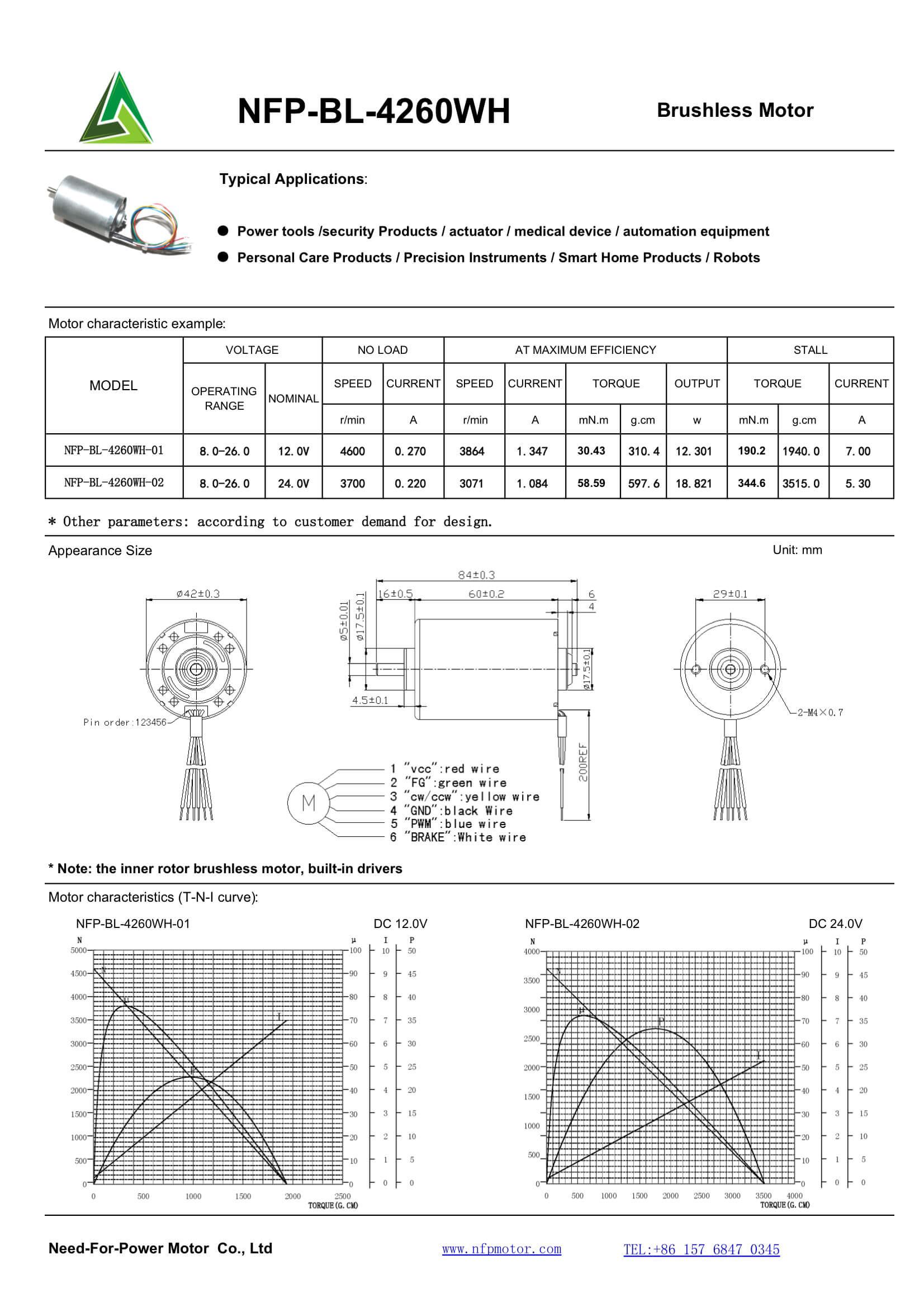 Need For Power Motor Micro Dc Motors Brushless Wiring Diagram Nfp Bl 4260wh