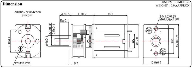 micro-gearhead-motor-outline-drawing